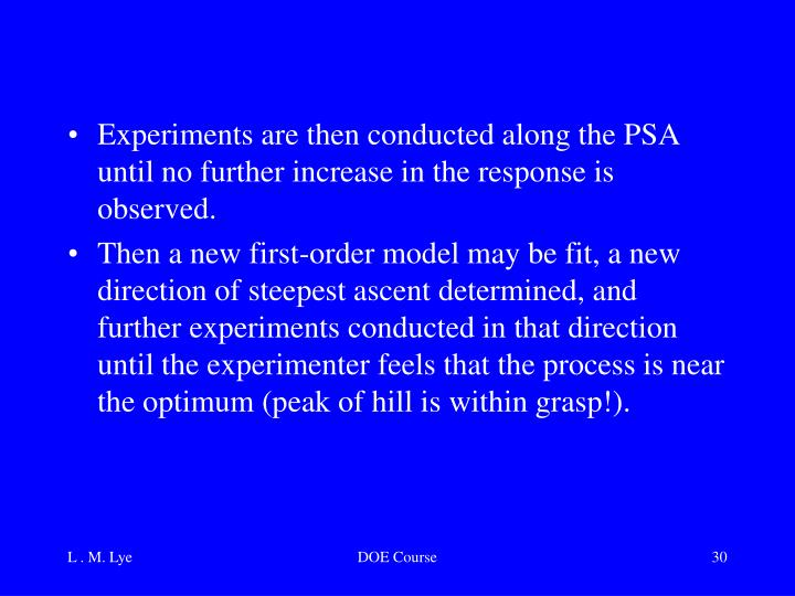Experiments are then conducted along the PSA until no further increase in the response is observed.