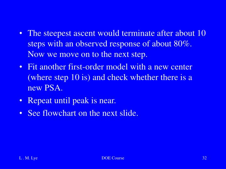 The steepest ascent would terminate after about 10 steps with an observed response of about 80%.  Now we move on to the next step.