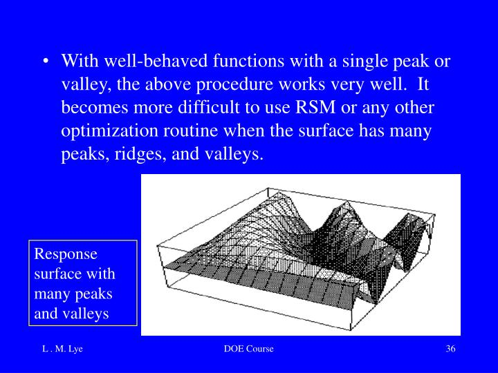 With well-behaved functions with a single peak or valley, the above procedure works very well.  It becomes more difficult to use RSM or any other optimization routine when the surface has many peaks, ridges, and valleys.