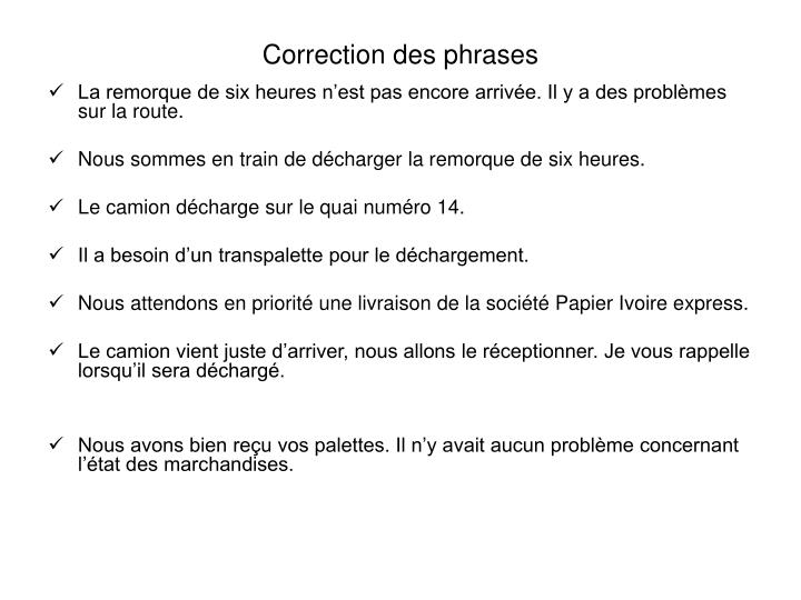 Correction des phrases
