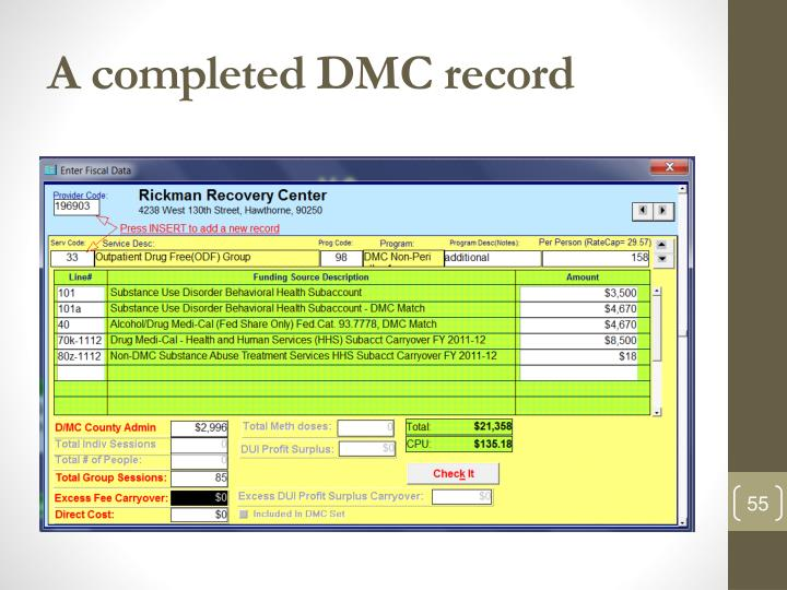 A completed DMC record