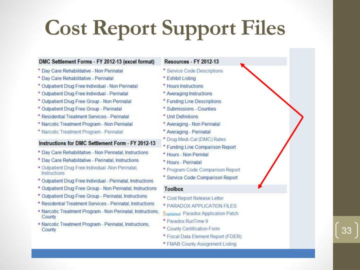 Cost Report Support Files