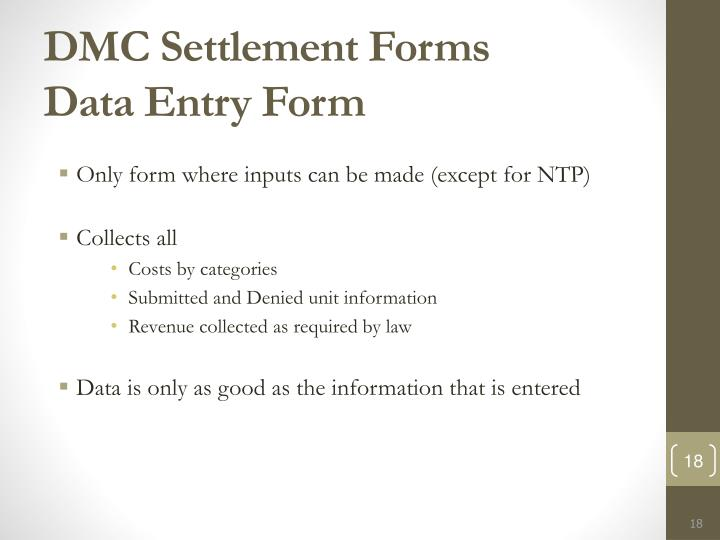 DMC Settlement Forms