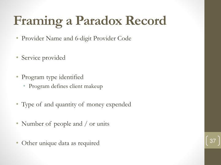 Framing a Paradox Record