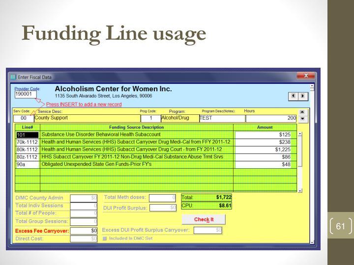 Funding Line usage