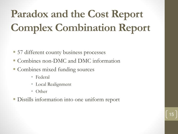 Paradox and the Cost Report Complex Combination Report