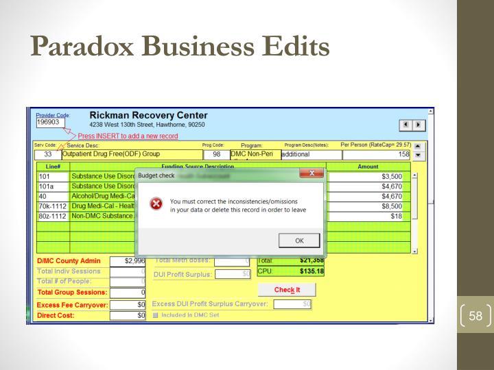 Paradox Business Edits
