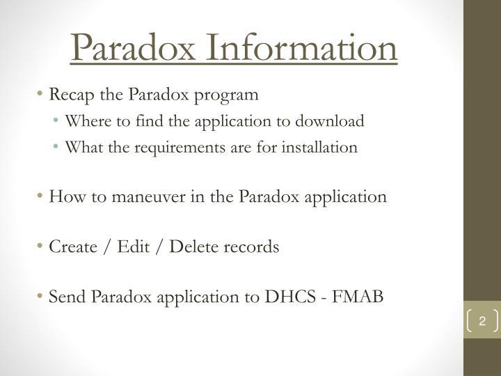 Paradox Information