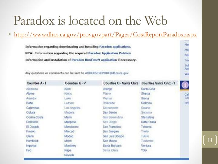 Paradox is located on the Web