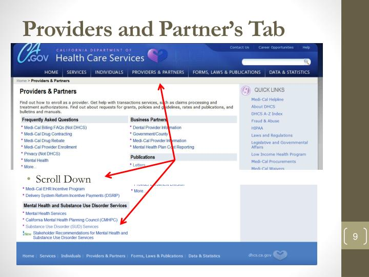 Providers and Partner's Tab