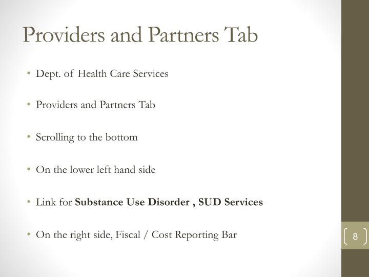 Providers and Partners Tab