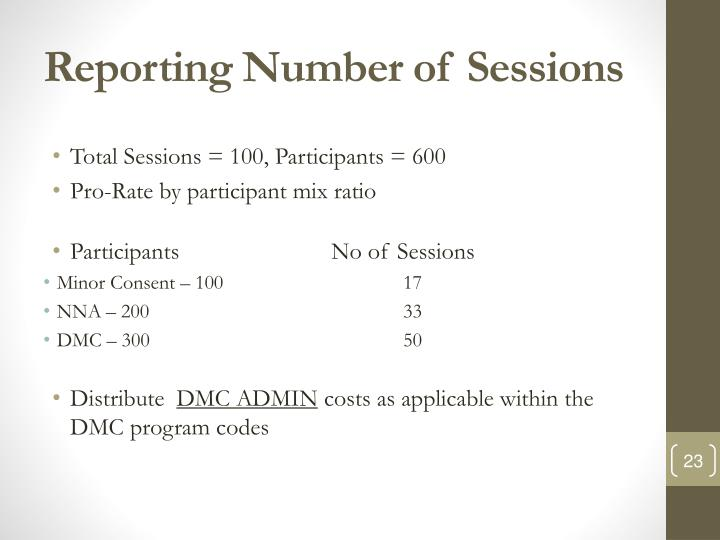 Reporting Number of Sessions