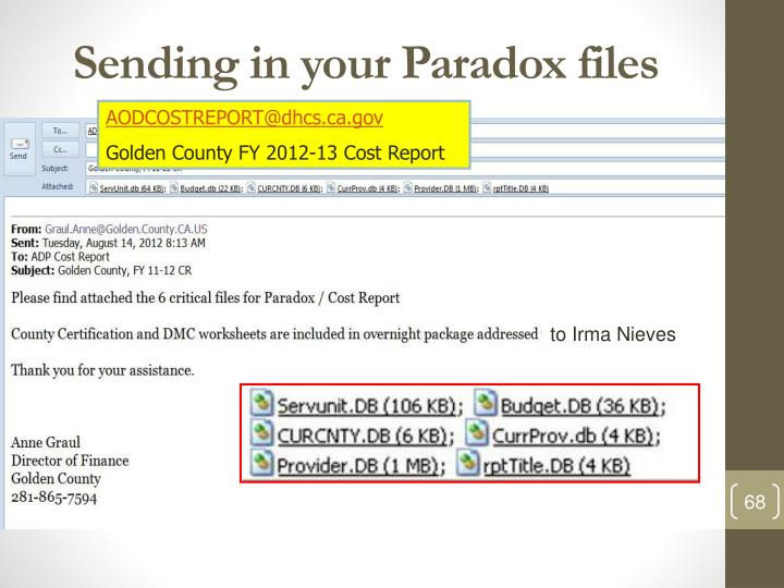 Sending in your Paradox files