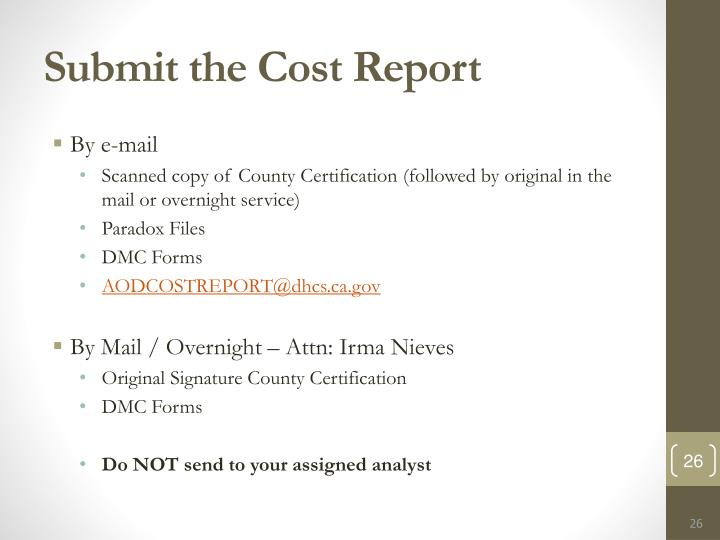 Submit the Cost Report