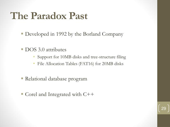 The Paradox Past