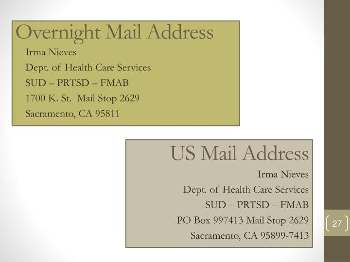 US Mail Address