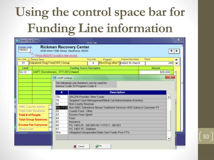 Using the control space