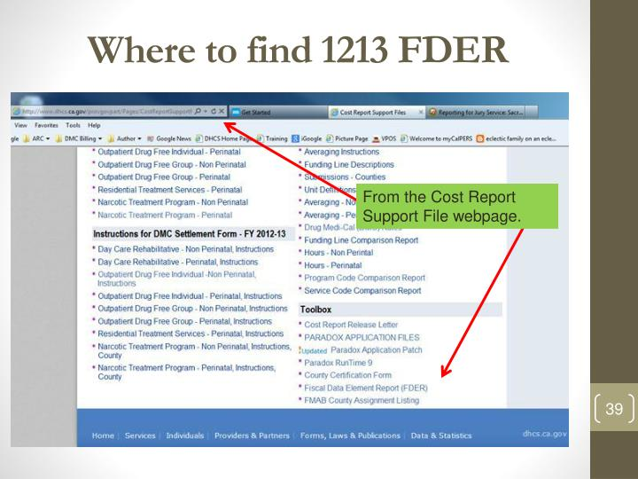 Where to find 1213 FDER