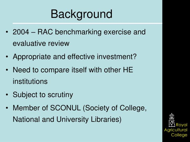 2004 – RAC benchmarking exercise and evaluative review