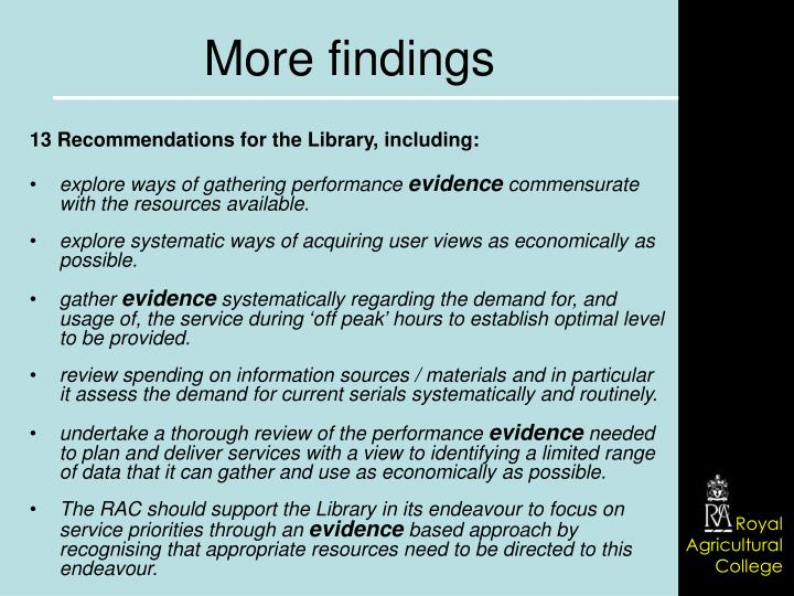 13 Recommendations for the Library, including: