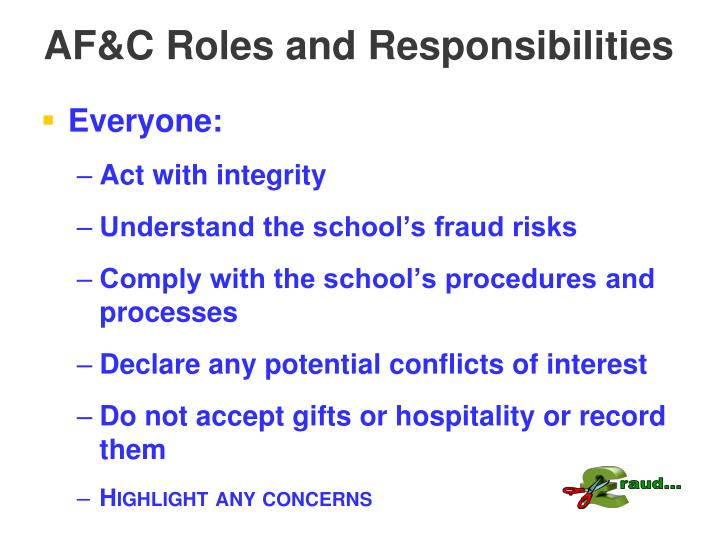 AF&C Roles and Responsibilities