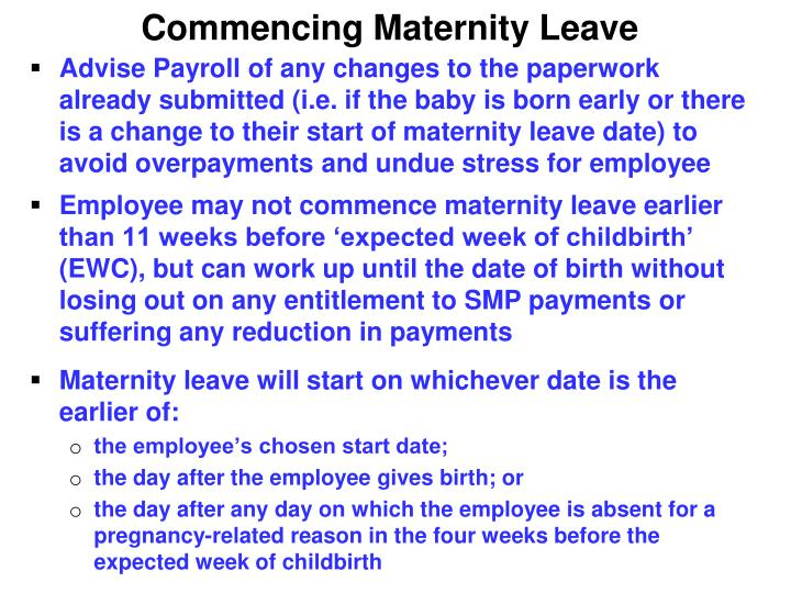 Commencing Maternity Leave