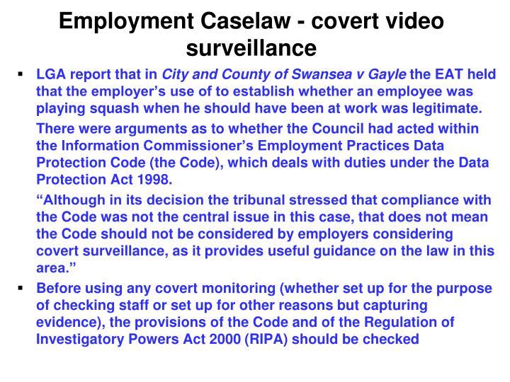 Employment Caselaw - covert video surveillance