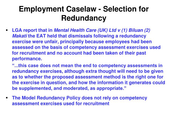 Employment Caselaw - Selection for Redundancy