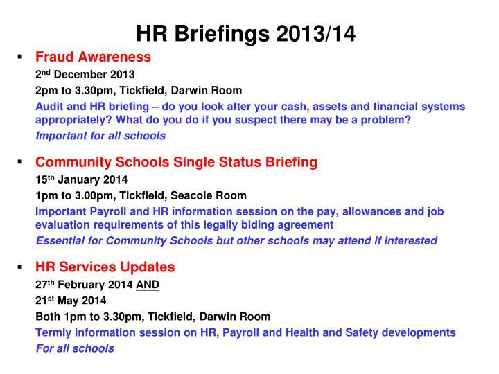 HR Briefings 2013/14