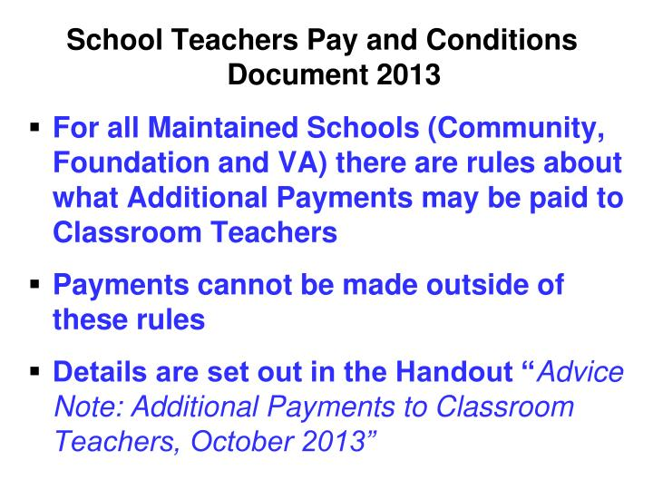 School Teachers Pay and Conditions Document 2013