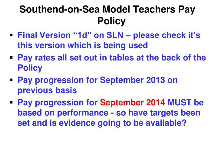 Southend-on-Sea Model Teachers Pay Policy