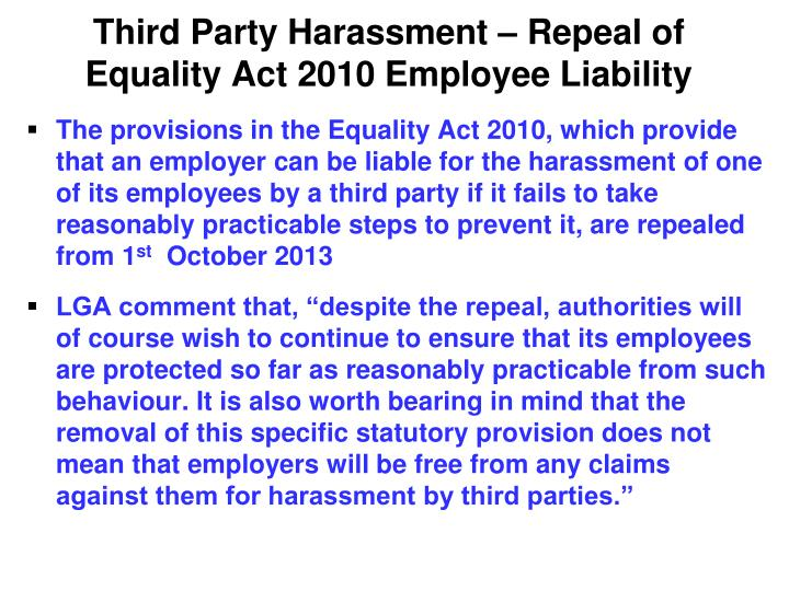 Third Party Harassment – Repeal of Equality Act 2010 Employee Liability