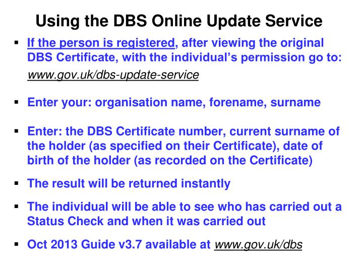 Using the DBS Online Update Service