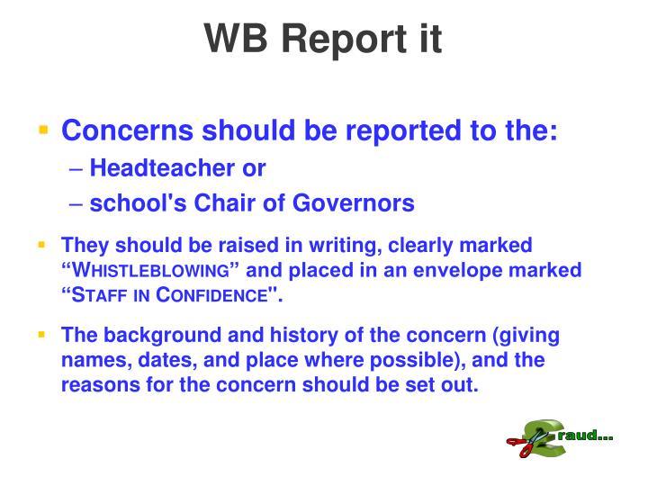 WB Report it