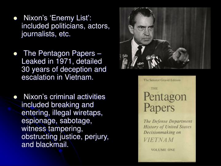 Nixon's 'Enemy List': included politicians, actors, journalists, etc.