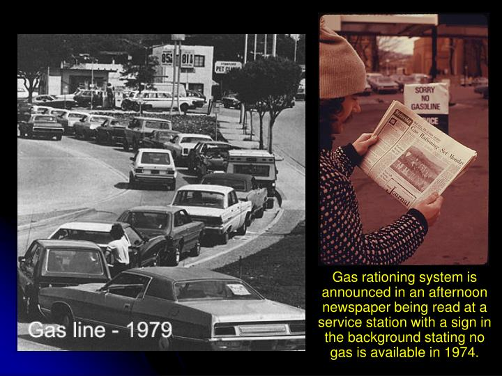 Gas rationing system is announced in an afternoon newspaper being read at a service station with a sign in the background stating no gas is available in 1974.