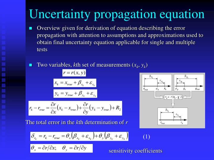 Uncertainty propagation equation