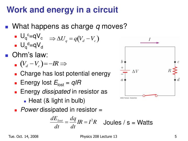 Work and energy in a circuit