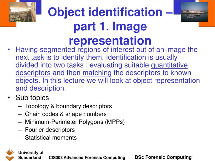 Object identification – part 1. Image representation