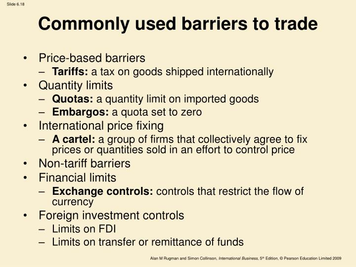 Commonly used barriers to trade