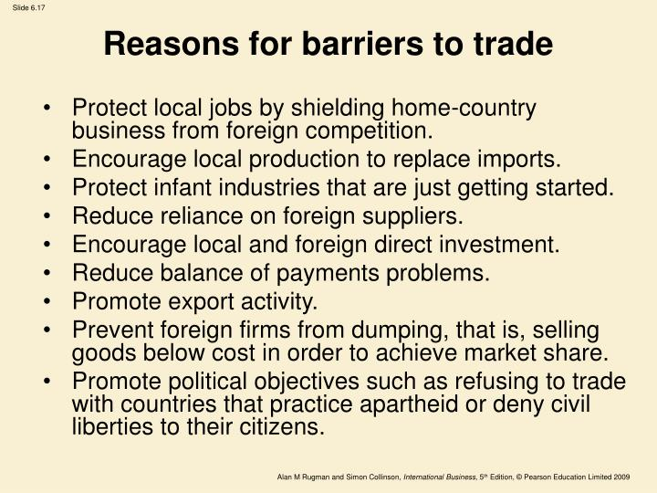Reasons for barriers to trade