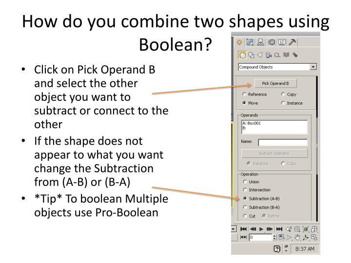 How do you combine two shapes using Boolean?