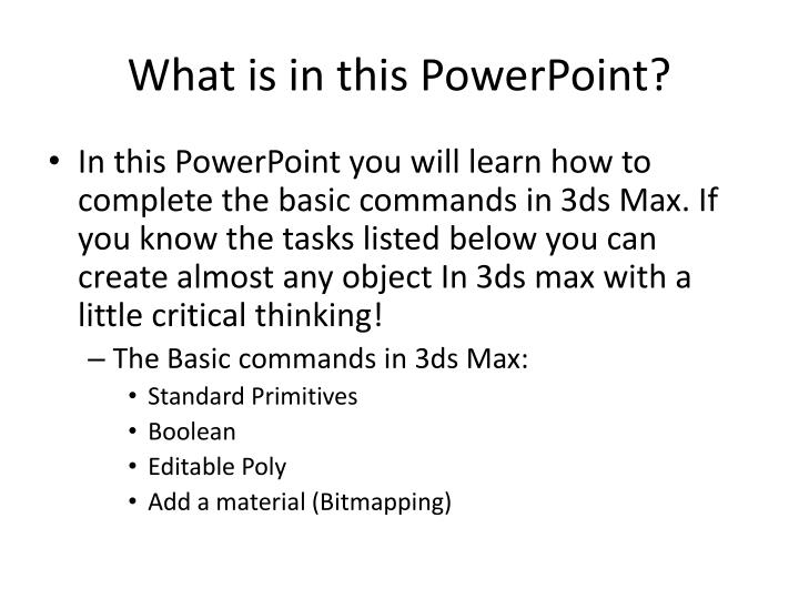 What is in this PowerPoint?