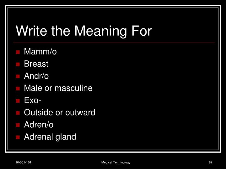 Write the Meaning For