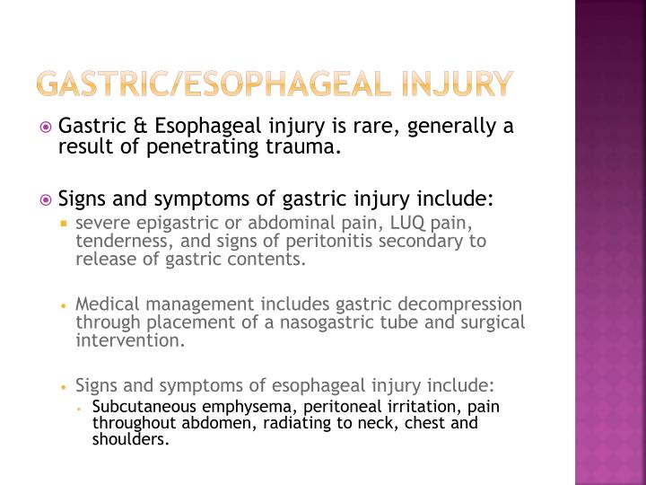 Gastric/Esophageal Injury