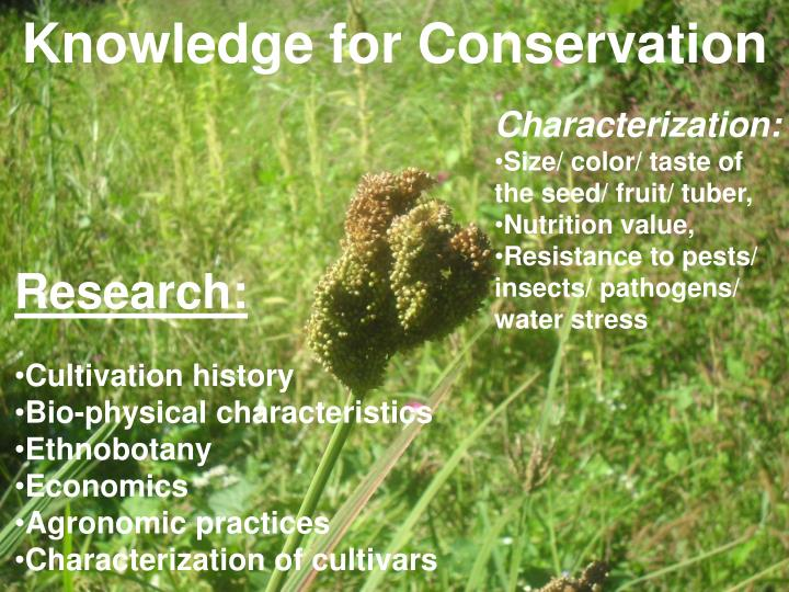 Knowledge for Conservation