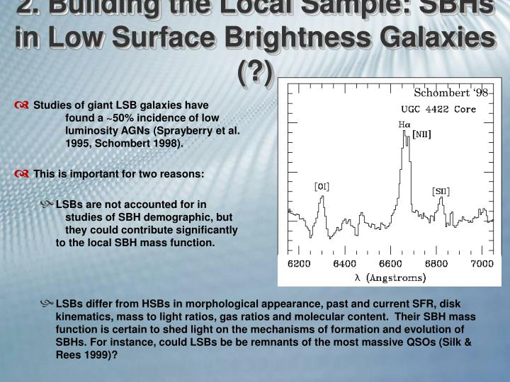 2. Building the Local Sample: SBHs in Low Surface Brightness Galaxies (?)
