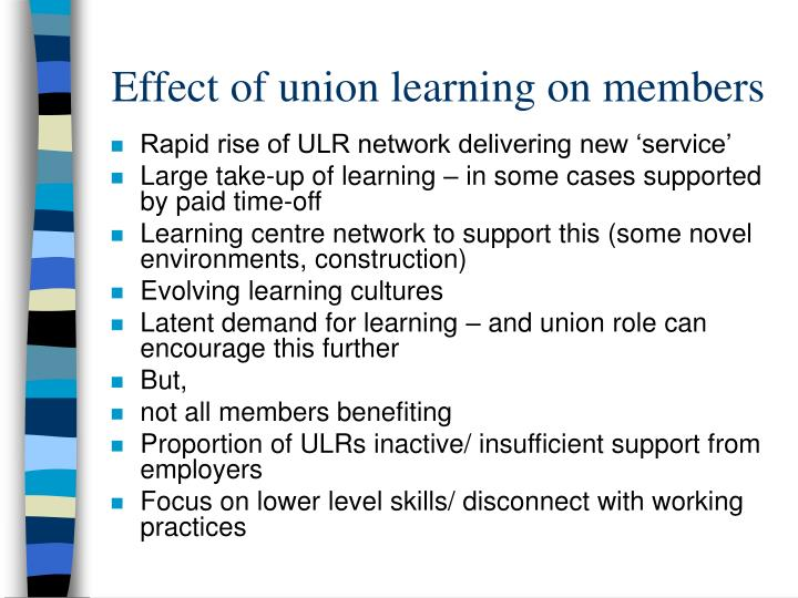Effect of union learning on members