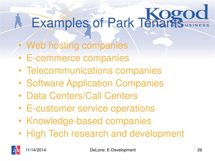 Examples of Park Tenants