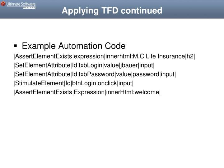 Applying TFD continued